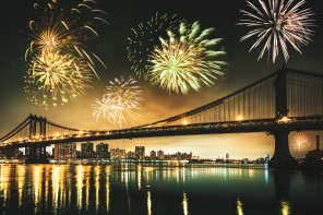 fireworks for a national holiday over the manhattan bridge